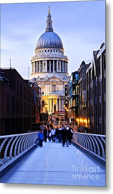 St. Paul's Cathedral London At Dusk Metal Print by Elena Elisseeva
