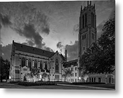 St. Paul's United Methodist Church In Bw - Houston Texas Metal Print by Silvio Ligutti