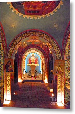 St Photios Greek Shrine Metal Print by Elizabeth Hoskinson