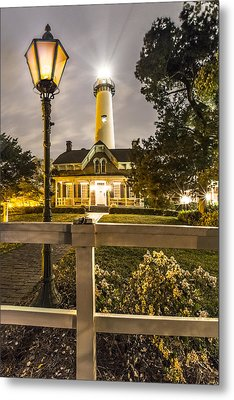 St. Simons Lighthouse Metal Print by Debra and Dave Vanderlaan