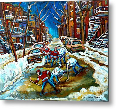 St Urbain Street Boys Playing Hockey Metal Print by Carole Spandau