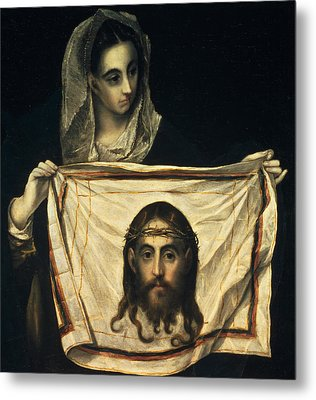 St Veronica With The Holy Shroud Metal Print by El Greco Domenico Theotocopuli