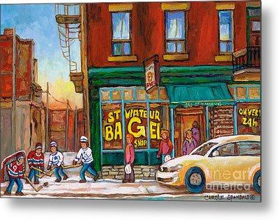 St. Viateur Bagel-boys Playing Street Hockey In Laneway-montreal Street Scene Painting Metal Print by Carole Spandau