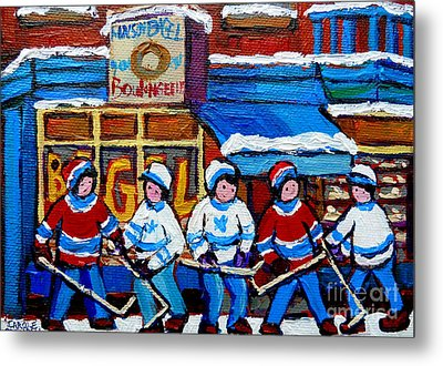 St Viateur Bagel Hockey Game Montreal City Scene Metal Print by Carole Spandau
