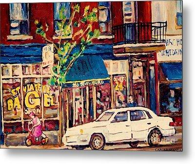 St Viateur Bagel Shop Corner Park Avenue Montreal Streetscenes Metal Print by Carole Spandau