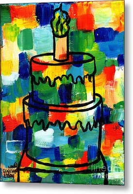 Stl250 Birthday Cake Abstract Metal Print by Genevieve Esson
