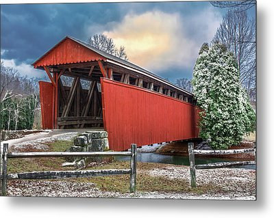 Staats Mill Covered Bridge Metal Print by Mary Almond