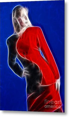 Stacey Red And Black Fractal Metal Print by Gary Gingrich Galleries
