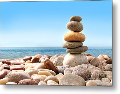 Stack Of Pebble Stones On White Metal Print by Sandra Cunningham