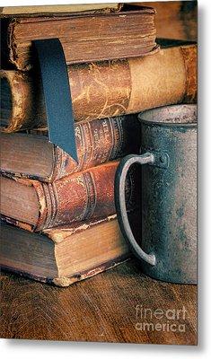Stack Of Vintage Books Metal Print by Jill Battaglia