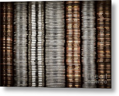 Stacked Coins Metal Print by Elena Elisseeva