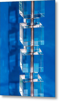 Stacked Cubes On Blue Metal Print by Art Block Collections