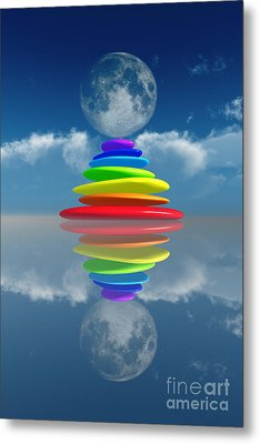 Stacked Rainbow Colored Stones Metal Print by Aleksey Tugolukov
