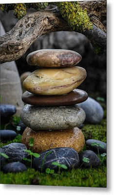 Stacked Stones A5 Metal Print by Marco Oliveira