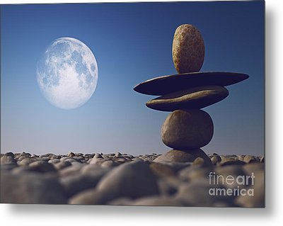 Stacked Stones In Sunlight Witt Moon Metal Print by Aleksey Tugolukov