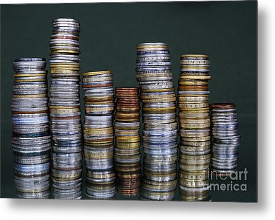 Stacks Of International Coins Metal Print