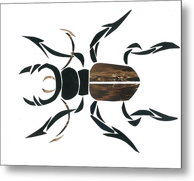 Stag Beetle Going Tribal Metal Print by Earl ContehMorgan