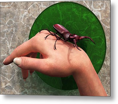 Stag Beetle On Hand Metal Print