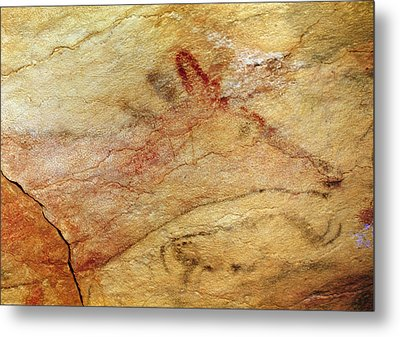Stag From The Caves Of Altamira  Cave Painting  Metal Print by Prehistoric