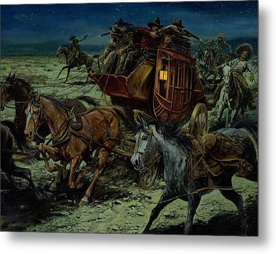 Stagecoach Attack Metal Print by Don  Langeneckert