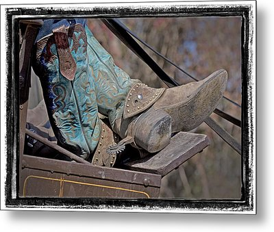 Stagecoach Cowboy's Boots Metal Print by Judy Deist