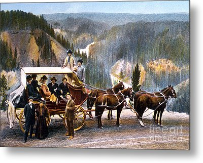 Stagecoach Near Upper Falls Metal Print
