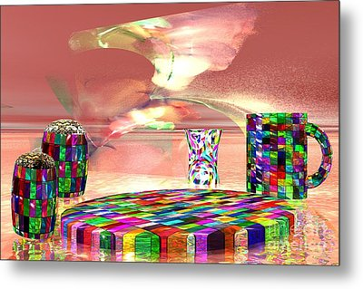 Metal Print featuring the digital art Stained Dinnerware by Jacqueline Lloyd
