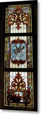 Stained Glass 3 Panel Vertical Composite 03 Metal Print by Thomas Woolworth