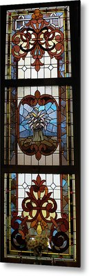 Stained Glass 3 Panel Vertical Composite 04 Metal Print by Thomas Woolworth