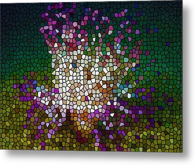 Stained Glass Anemone 2 Metal Print