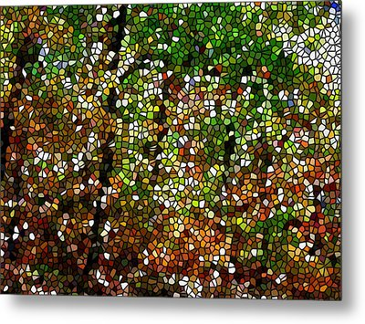 Stained Glass Autumn Colors In The Forest 1 Metal Print by Lanjee Chee