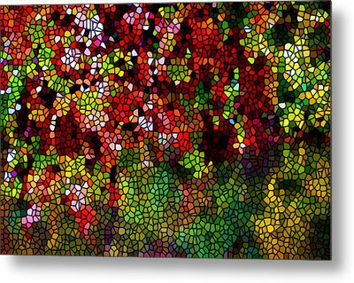 Stained Glass Autumn Leaves Reflecting In Water Metal Print by Lanjee Chee