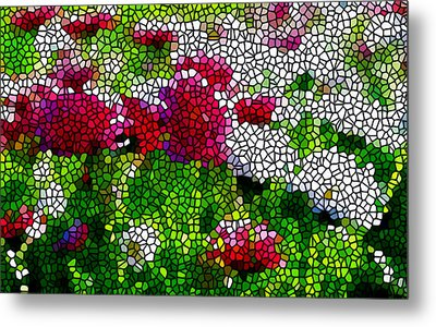 Stained Glass Chrysanthemum Flowers Metal Print by Lanjee Chee