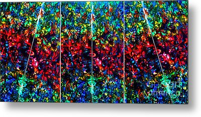Stained Glass Collage Metal Print by Nancy Mueller