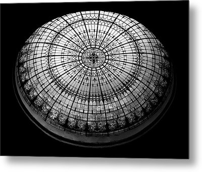 Stained Glass Dome - Bw Metal Print by Stephen Stookey