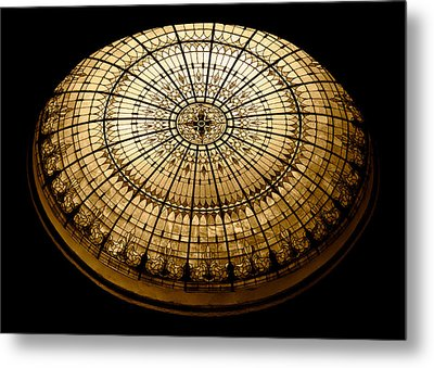 Stained Glass Dome - Sepia Metal Print by Stephen Stookey