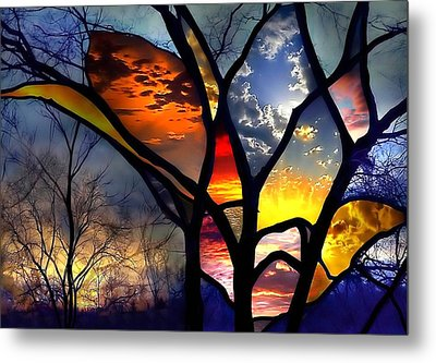 Stained Glass Flower Metal Print