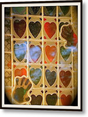 Metal Print featuring the photograph Stained Glass Hands And Hearts by Kathy Barney