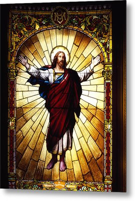 Stained Glass Jesus Metal Print by Mountain Dreams