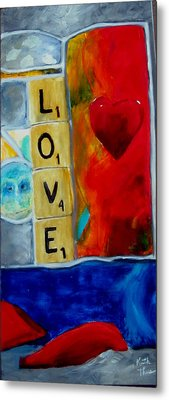 Stained Glass Love Metal Print