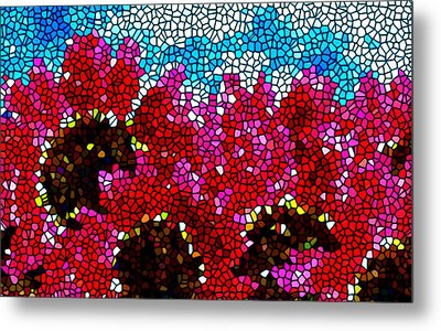 Stained Glass Red Sunflowers Metal Print by Lanjee Chee