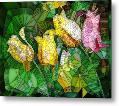 Stained Glass Series - Tulips Metal Print