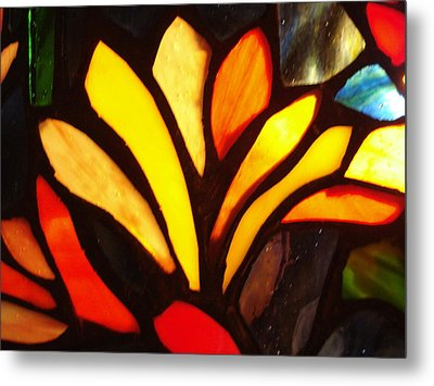 Stained Glass Six Metal Print