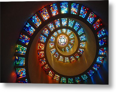 Stained Glass Spiral Metal Print by James Kirkikis
