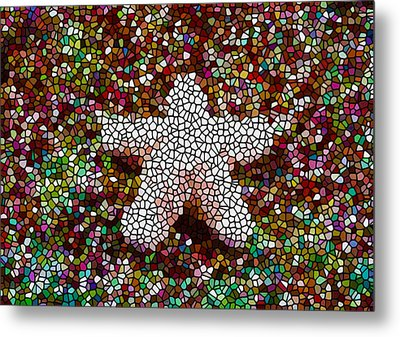 Stained Glass Starfish Metal Print