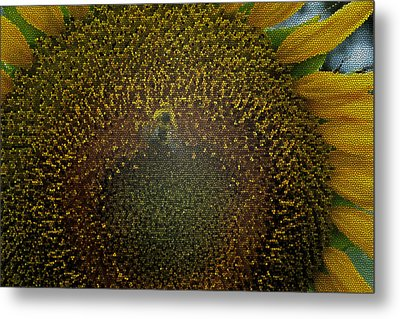 Stained Glass Sunflower Metal Print