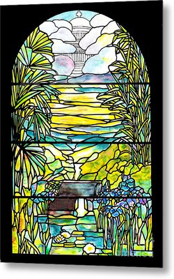 Stained Glass Tiffany Holy City Memorial Window Metal Print by Donna Walsh