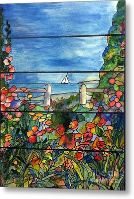 Stained Glass Tiffany Landscape Window With Sailboat Metal Print by Donna Walsh