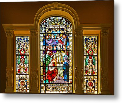 Stained Glass Window Cathedral St Augustine Metal Print by Christine Till