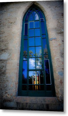 Stained Glass Window In Window Metal Print